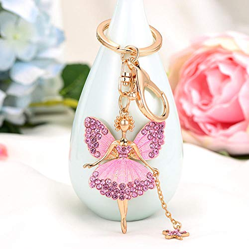 Sinzong sleutelhanger voor dames, sleutelhanger, strass, vlinder, fee, sleutelring, engel, hanger, ballerina, legering, sleutelhanger, 2 stuks roze (powder)