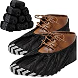 RE GOODS Shoe Covers - 100 Pack, X Large, Extra Thick With Non Skid Soles, Professional Sleek Black Disposable Boot and Shoe Booties, One Size Fits Most, Non Slip - Indoor/Outdoor