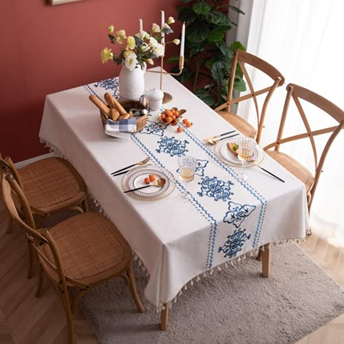 YFDC Mantel De Lino De Poliéster con Borlas Bordadas De Porcelana Azul Y Blanca, Mantel Rectangular para Mesa De Té, Mantel Blanco para Mesa De Café (Blue,140 * 220CM)