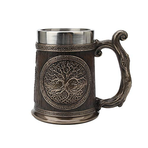 Veronese Design 5 3/4' Tall Cold Cast Resin Antique Bronze Finish Celtic Knots Tree Of Life Casket Beer Stein (Stainless Steel Tumbler) Viking Home Decor