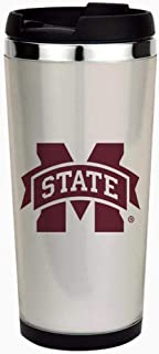 Mississippi State Logo - Stainless Steel Travel Mug, Insulated 15 oz. Coffee Tumbler.