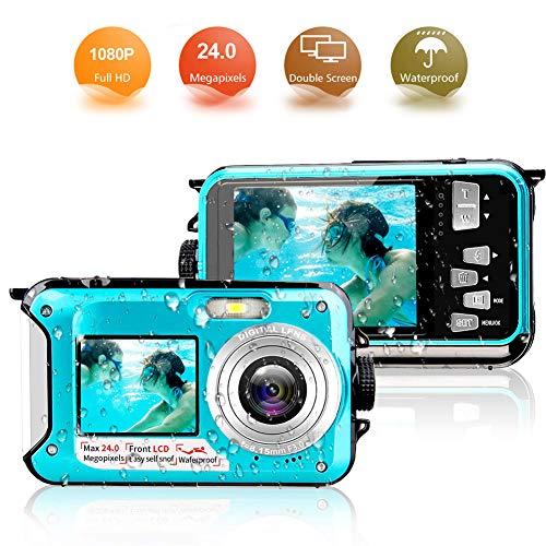 Appareil Photo Etanche 1080p fhd 24 MP Appareil Photo Numérique Appareil Photo Double Ecran Self Shot Appareil Photo Numérique Etanche