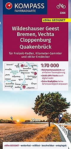 KOMPASS Fahrradkarte Wildeshauser Geest - Vechta - Cloppenburg 3366: Fahrradkarte. GPS-genau. 1:70000 (KOMPASS-Fahrradkarten Deutschland, Band 3366)