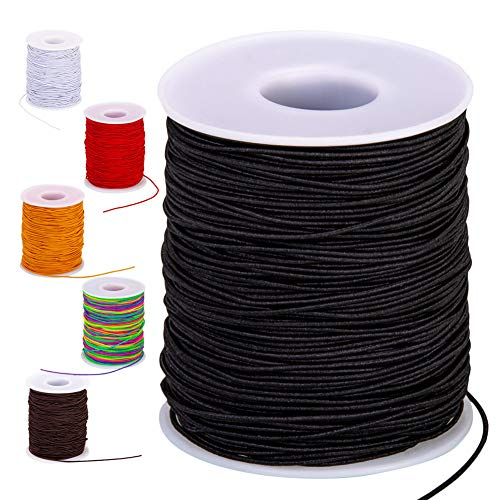 Elastic String for Bracelets, 1mm Black Bracelet String Elastic for Jewelry Making, 100-Meter Elastic Cord Stretchy String for Bracelet Making Beads Beading(Black, 1mm)