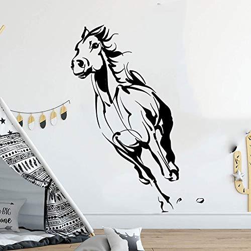 Quszpm Adesivo murale per Animali da Compagnia Cavallo da Corsa Adesivo per Camera da Letto Camera dei Bambini Cavallo Bestia Adesivo 79 cm x 56 cm