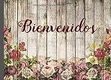 BIENVENIDOS: LIBRO DE REGISTRO DE HUÉSPEDES | CON TODOS LOS DATOS DEL VIAJERO EXIGIDOS POR LEY | PARTES DE VIAJEROS | AIRBNB, ALQUILER VACACIONAL. diseño de madera y rosas.