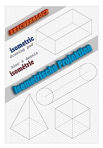 Blocco per isometria, blocco da disegno 3D, carta a rete triangolare, 2 pezzi