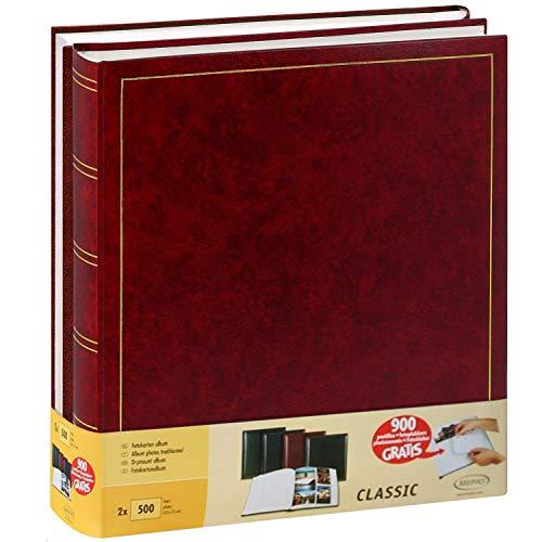 Juego de 2 álbumes de fotos tradicionales (100 páginas, 500 fotos de 10 x 15), color rojo