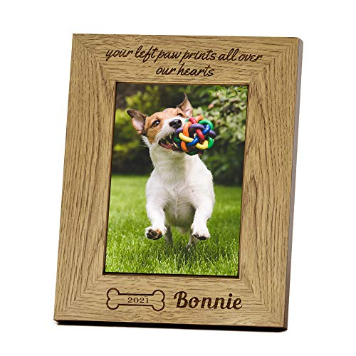 Personalised Photo Frame Engraved 7X5' Wooden Photo Frame Gift for Pets Dog...