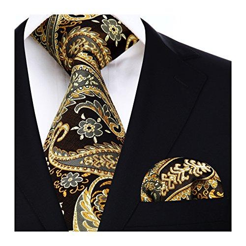 HISDERN Herren Krawatte Blumen Paisley Krawatte & Einstecktuch Set Gold-braun