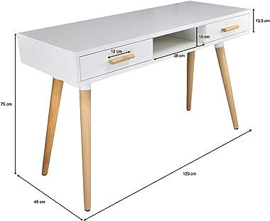 SAMIRA Consolle scrivania per cameretta e Ufficio in Stile Nordico Colore Bianco