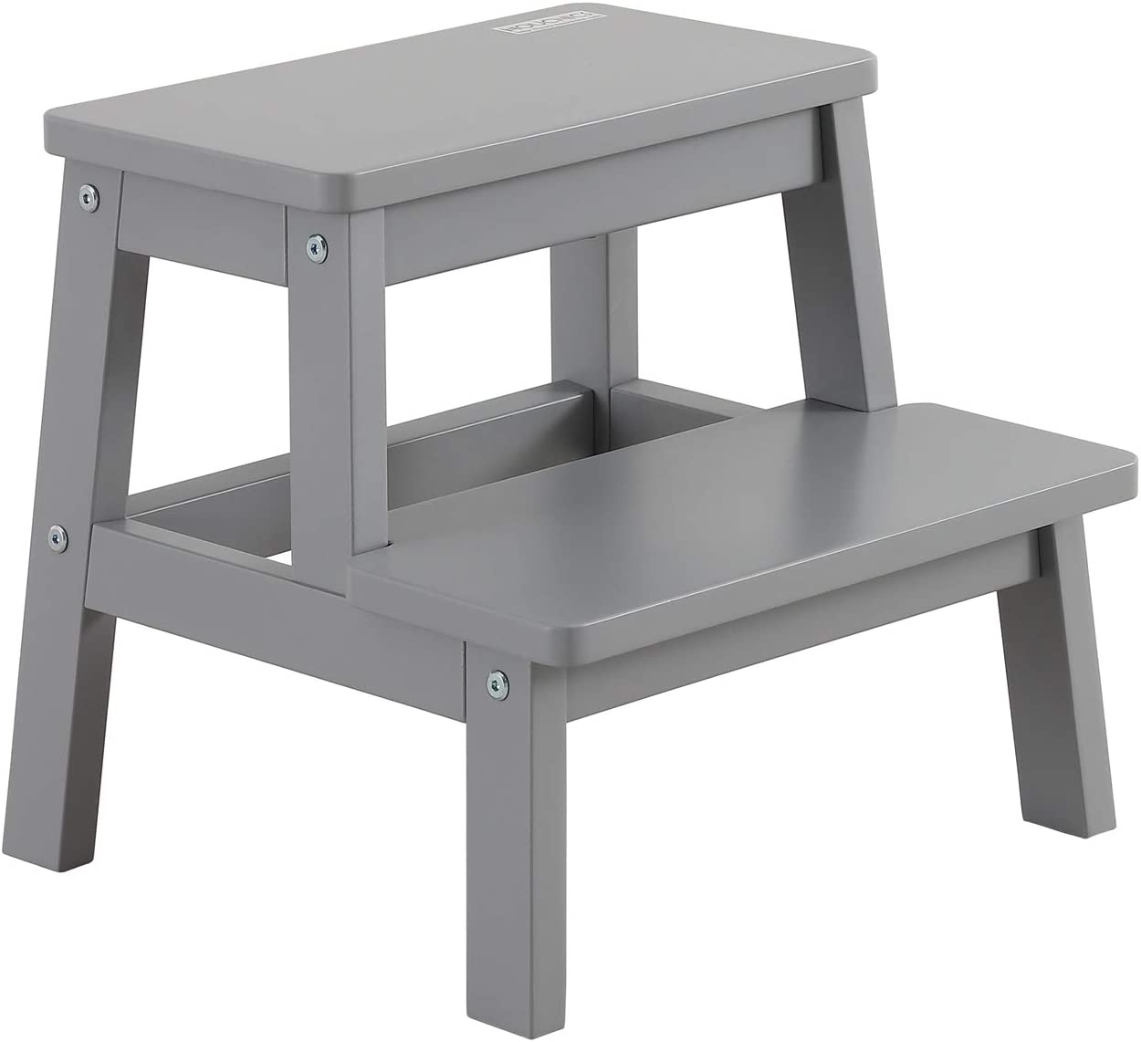 HOUCHICS Solid Wooden Step Stool for Kids , Toddlers Step Stool for Kitchen,Bathroom ,Bedroom,Living Room with Non-Slip Mats and 260lb Load Capacity(Gray)