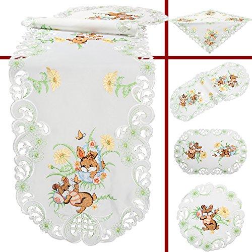 Quinnyshop - Centrotavola ricamato con motivo a fiori e coniglietti per decorazioni pasquali in poliestere bianco, Poliestere, bianco, 85 x 85 cm