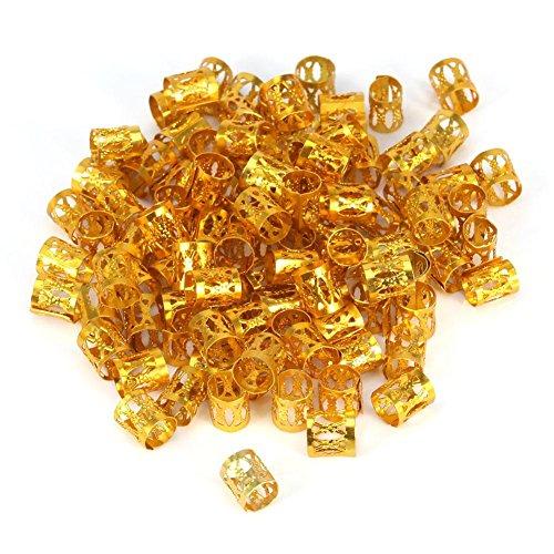 100 delar/påse nya färgglada hår flätade pärlor ringar manschett styling dekoration verktyg 7 färger (guld)