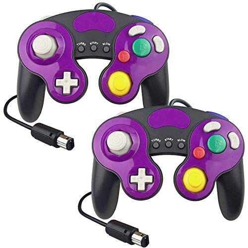 YTEAM Wired Controller für GameCube, Kabelgebundenes USB Controller 2 Stück Unterstützen Turbo und Slow Funktionen Klassisches NGC-Design Gamepad für GameCube/ Wii/ Wii U/ Windows/ Switch