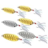 6 Pcs Fishing Spoon Lures Hard Metal Lures Trolling Spoons Jig Lures VIB Spoon Baits for Trout Bass Crappie Walleye Salmon 5g/10g/20g, Gold & Silver