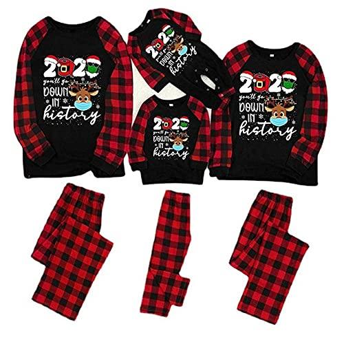 Navidad Familia Conjunto de Ropa a Juego Bebé Niño Hombres Mujeres Reno Cuadros Pijamas de Navideños Pantalon y Top Camisón Casual Homewear,kids-130