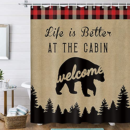 """Rustic Cabin Shower Curtain, Farmhouse Country Lodge Bear Shower Curtain for Bathroom, Camp Woodland Rv Fabric Shower Curtain Wooden Forest Wild Animals Bear Curtain with Hooks (70""""X70"""")"""