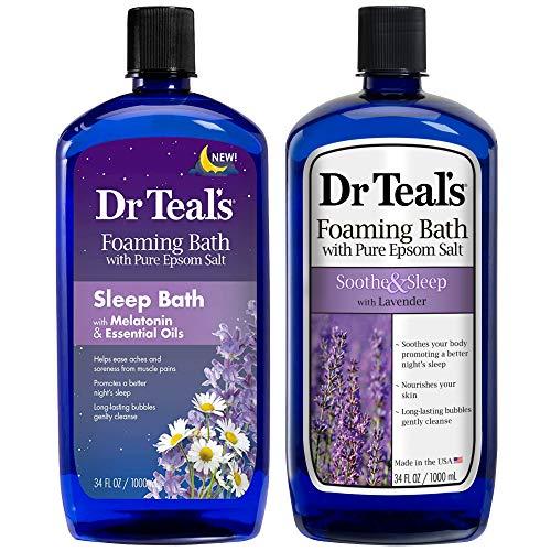 Dr Teal's Foaming Bath Combo Pack (68 fl oz Total), Melatonin Sleep Soak, and Soothe & Sleep with Lavender
