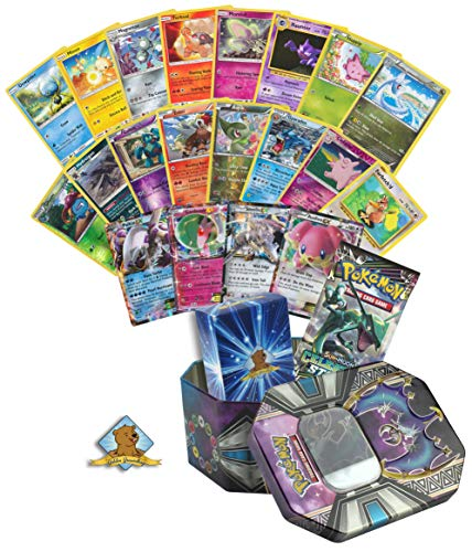 Pokemon Ultra Rare - EX, GX, or V Guaranteed with Booster Pack - 5 Foils - 5 Rares - 20 Pokemon Common and Uncommon Cards! Includes Pokemon Tin and Golden Groundhog Deck Box!