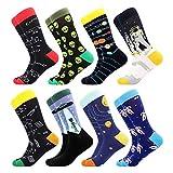 BONANGEL Calcetines Funky de los Hombres, Hombres Ocasionales Calcetines Divertidos Impresos de Algodón de Pintura Famosa de Arte Calcetines, Calcetines de Colores de moda (8 Pairs-Galaxy2)