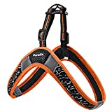 Pordlie Dog Harness No Pull, Easy On and Off Ultra Soft Breathable Padded Pet Vest Harness, Adjustable Reflective Top Paw Dog Harness for Small Medium Large Dogs (Large, Black-Orange)