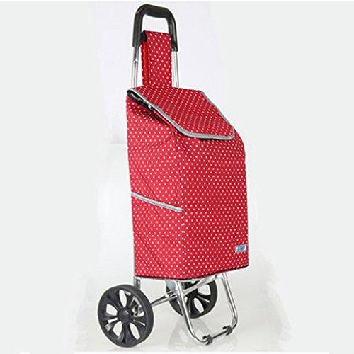 KUN Peng Shop Carro de la Compra tirón de la Mano cajón Plegable Carretilla del Carro del Equipaje Carretilla Vieja Portable Buena A+ (Color : Rojo)