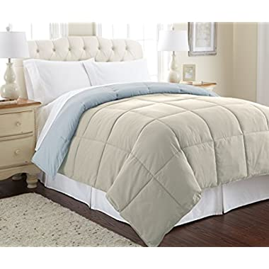 Amrapur Overseas Goose Down Alternative Microfiber Quilted Reversible Comforter/Duvet Insert - Ultra Soft Hypoallergenic Bedding - Medium Warmth for All Seasons - [Queen, Oatmeal/Dusty Blue]