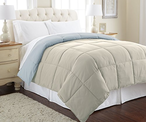 Amrapur Overseas Goose Down Alternative Microfiber Quilted Reversible Comforter/Duvet Insert Ultra Soft Hypoallergenic Bedding - Medium Warmth for All Seasons, Full/Queen, Oatmeal/Dusty Blue