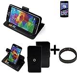 K-S-Trade® Case Schutz Hülle Für -Switel ESmart E2- + Bumper Handyhülle Flipcase Smartphone Cover Handy Schutz Tasche Walletcase Schwarz (1x)