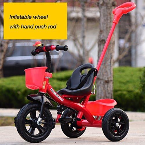 Kinder Fahrrad Klapprad 2-6 Jahre alt, Kinderwagen, rot, mit Hand Push Rod