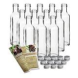 Botellas de cristal vacías, 250ml, cierre de rosca y folleto de recetas de 28 páginas (idioma español no garantizado) de licor, de vinagre, de aceite, PP31,5 Silber, 12er Set