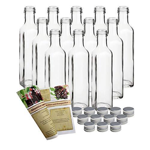 gouveo 12er Set Flasche Maraska 250 ml inkl. Schraubverschluss Silber, Likörflaschen, Schnapsflaschen, Essigflaschen, Ölflaschen