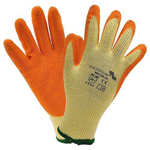 12 paia FOURSCOM Guanti da lavoro EN 388 2242, Poliestere / Latex, taglia 10-XL, giallo / arancio