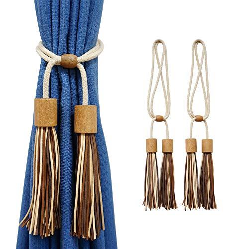 Hiastra Curtain Tiebacks Leather Tassels Curtain Holdback Rope, Faux Suede Tassel Tie Backs Adjustable Home Decorative Braided Buckle Fastener Accessories for Window Drapery,Set of 2 (Dark Coffee)