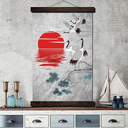 QLIYT Poster Moderne Leinwandbilder Poster Wandmalerei Rollbild Kunstwerke Wandbilder Gemälde Kunst Mandschurenkranich Japan Art