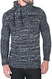 Karl's people Herren Strick Kapuzen Pullover mit Schalkragen in verschieden Farben 7510, Größe M, Farbe Black