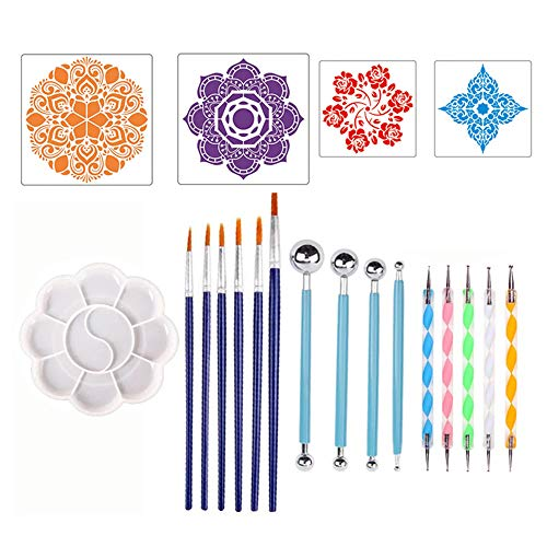 SIWEI 20 Pcs Dotting Tools Kit DIY Art Peinture Outils Set Art À La Main Peinture Brosse Brosse Embellissement Ensemble Complet De Modèles
