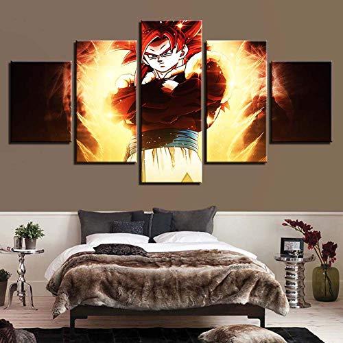 WLQQ Cuadros de Lienzo 5 Piezas de Arte Pintura de Anime Dragon Ball Goku Saiyan Ilustraciones Modernas Decoración del Hogar HD Imprimir Imagen Póster,A,40x60x2+40x80x2+40x100cmx1