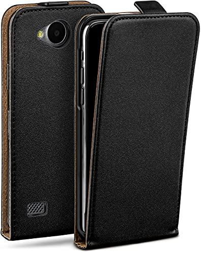 moex Flip Hülle für LG Joy Hülle klappbar, 360 Grad R&um Komplett-Schutz, Klapphülle aus Vegan Leder, Handytasche mit vertikaler Klappe, magnetisch - Schwarz