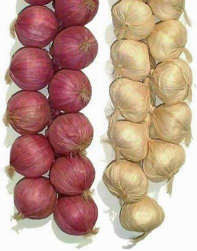 Zwiebel- und Knoblauchstränge von Lihou, 2 x 50,8 cm, künstliches Gemüse