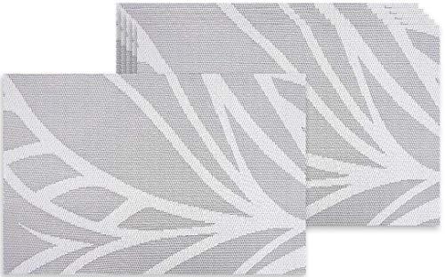 Lot de 6 sets de table gris blanc en plastique