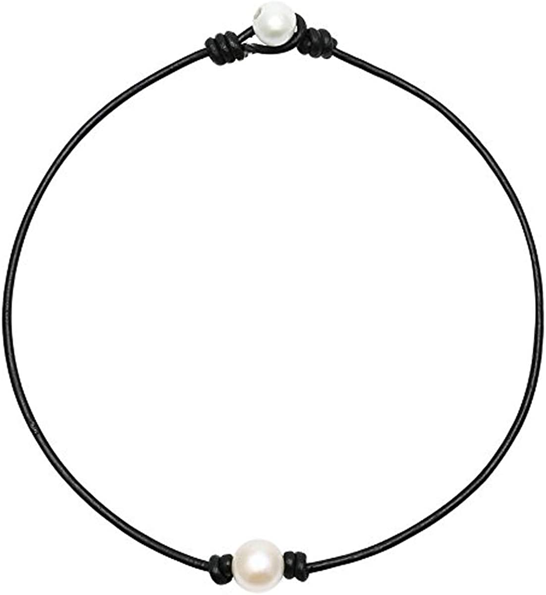 2PCS Y2k Jewelry Necklace Single Pearl and Three Pearl Choker Necklace with Black or Brown Leather