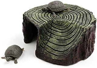 DealMux Brown verde paisaje Resina Basking Rampa tortuga Suba Piedra decoración del hogar para el acuario