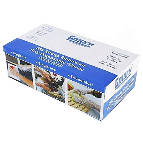 Gmark Disposable Gloves 500 counts; 100% Virgin LDPE, Safe for Food Handling, Hair Dressing and all kinds of cleaning purposes. GM1070A
