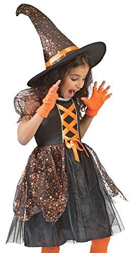 Funny Fashion Hexe Glenda Kostüm für Mädchen Schwarz Orange mit Sternen Gr. 98
