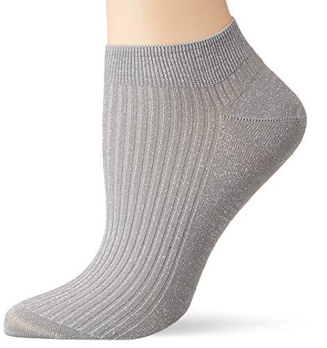 FALKE Damen Sneakersocken Shiny Rib - Baumwollmischung, 1 Paar, Grau (Silver 3290), Größe: 39-42
