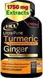 Turmeric Curcumin with Ginger - 1750mg of 95% Curcuminoids and Ginger Extract Supplement - Strong Natural Pain Relief & Joint Support Pills - Anti-Inflammatory and Antioxidant Support - 90 Caps