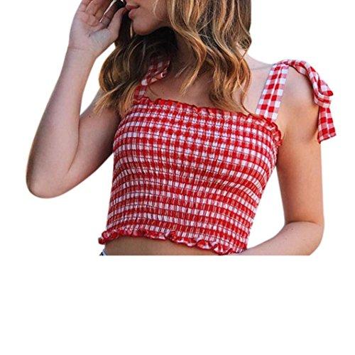 Longra Donna T-Shirt in Cotone Sexy a Tubino in Maglia Elastica, Maglietta Corta Camicetta T-Shirt da Canotta da Donna Summer Casual off Tank Tank Senza Maniche Bandage Plaid Vest Crop Top (S, Rosso)