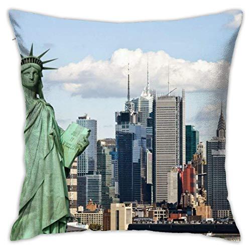TGUBJGV Fundas de Almohada Estatua de la Libertad de Nueva York en Nueva York Funda de Almohada Cuadrada Decorativa Funda de cojín Suave para habitación Dormitorio Sofá Silla Coche